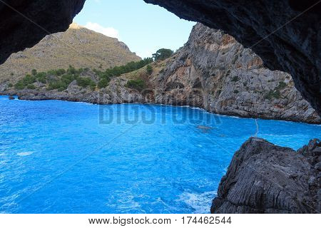Mediterranean Sea At Platja De Torrent De Pareis, Majorca, Spain