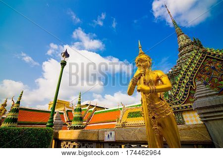 Beautiful Ki-nara Angel Stand Front Of Pagoda Temple