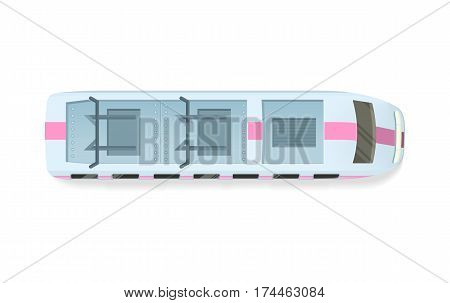 Tramway top view icon. Electric speed train roof flat vector illustration isolated on white background. City ecologic public transport. For game environment, urban infographics, logo, web design
