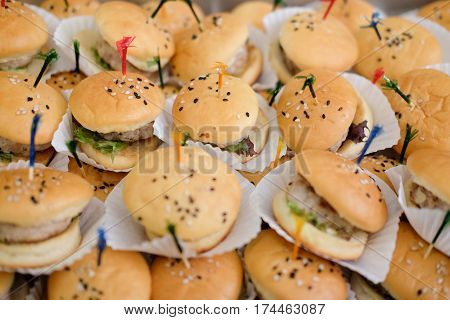 Mini burgers for party food or snack.