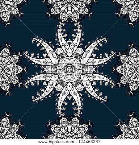 Vector white pattern. Seamless textured curls. Oriental style arabesques white pattern on a blue background with white elements.