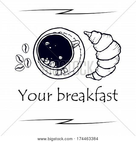 Delicious Breakfast, coffee mug on top. Cappuccino and croissant on top. Sketch. Vector illustration isolated on white background for web design or print brochures.