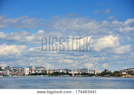 Vladivostok city in summertime golden horn bay golden bridge