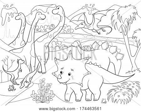 Cartoon Coloring for children dinosaurs in nature. Black and white vector illustration. Zentangle style. Dinosaur, pterodactyl, insects, nature, recognizable species