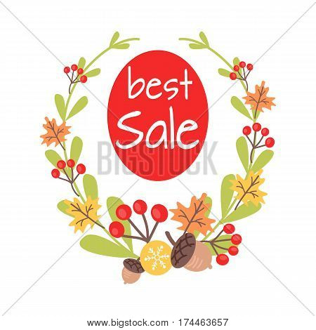 Christmas best sale icon surrounded by beautiful plants wreath on white background. Vector illustration of holiday decor elements fall leaves, red guelder roses and small acorn. Showing shop discounts