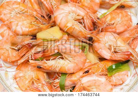 home cooked steamed shrimps in a dish