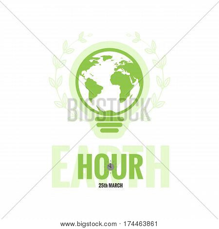 Template of Earth Hour or Daylight Saving Time with World Map, Lamp and Clocks