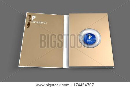 Mockup book of Phosphorus mineral. 3D Illustration