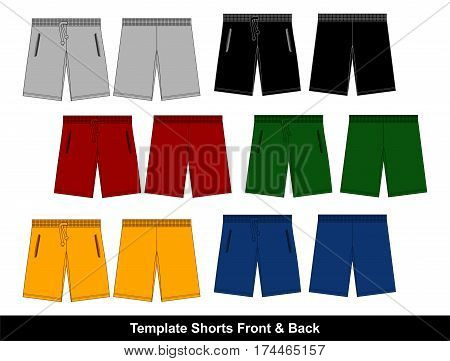 Design Template Short Front and Back  swimming , Vector.