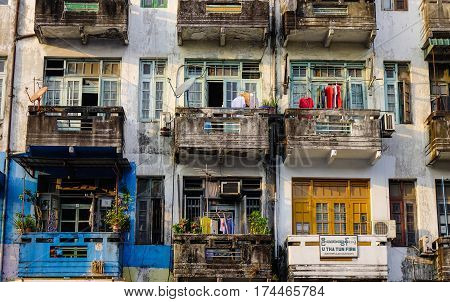 Old Apartments In Yangon, Myanmar