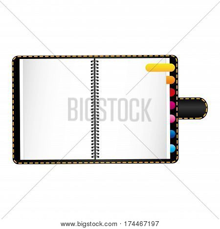 black agenda with tabs icon, vector illustraction design