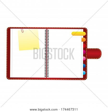 red agenda with tabs and paper note icon, vector illustraction design