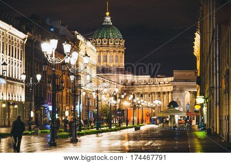 Kazan Cathedral and Nevsky Prospect at night lights old houses Saint Petersburg.