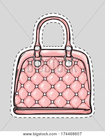 Handbag patch with handle, clips isolated in flat style. Bag with squares. Elegant pink rouge leather bag. Editable female accessory object. Modern trendy casual sack. Luxury case. Vector illustration