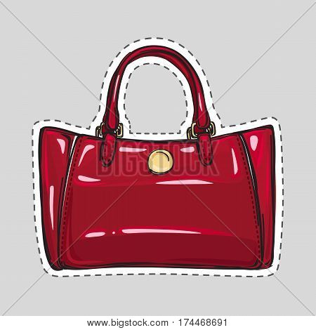 Woman dark red bag patch in flat style. Female handbag isolated. Elegant ladies colorful bag. Leather bag. Female accessory object. Handbag with handle, clips. Cut out of paper. Vector illustration