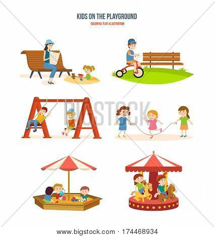 Kids on the playground concept. Walking with the children in the fresh air, cycling, roundabouts and swings, playing with friends, fun in the sandbox. Colorful flat illustration.