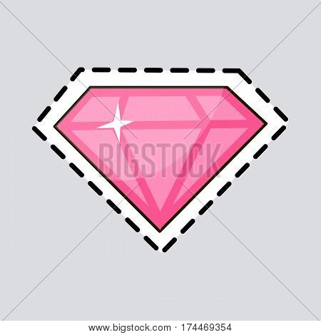 Pink diamond. Cut it out. Accessory. Illustration of isolated precious stone with facets. Luxurious thing for women. Rose-coloured expensive jewel. Cartoon design. Fashion. Flat style. Vector