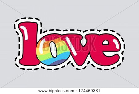 Love. Cut it out. Illustration of isolated icon. Romantic inscription. Letters different in colour. Red hue and colour of rain bow. Patch. Decoration. Garnish. Cartoon design. Flat style. Vector