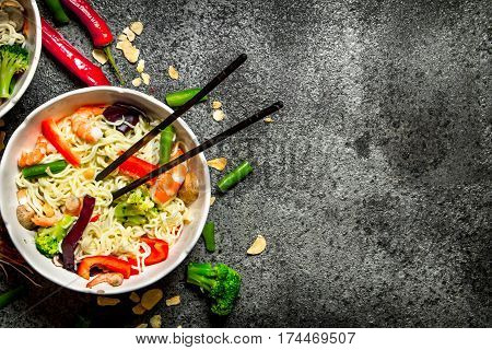 Asian Food. Chinese Noodles With Vegetables And Shrimp.