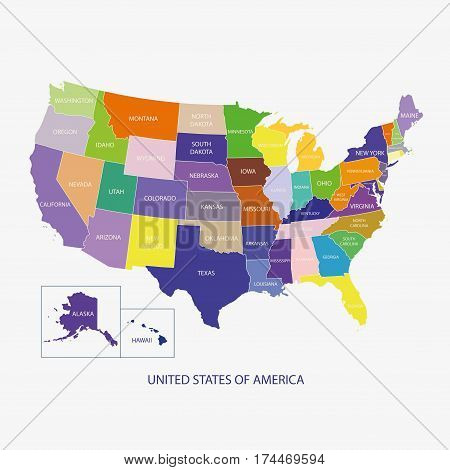 USA MAP (UNITED STATES OF AMERICA MAP) illustration vector