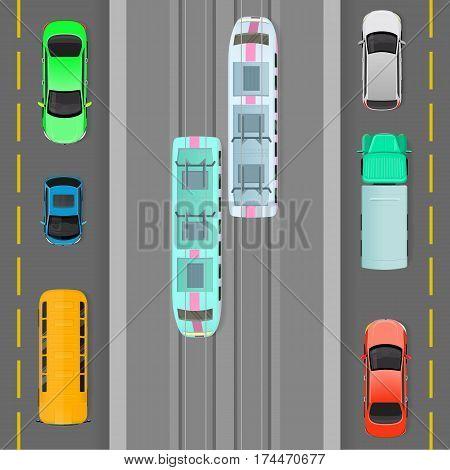City traffic vector concept. Passenger cars, truck, bus, tramways goes on road top view flat vector illustration. Urban transport. Traffic on town road. For city infographics, web design
