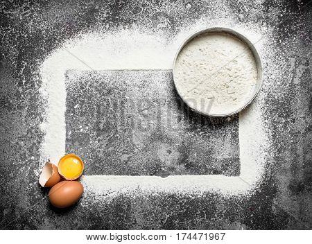 Baking Background. Ingredients For The Dough With Sifted Flour.