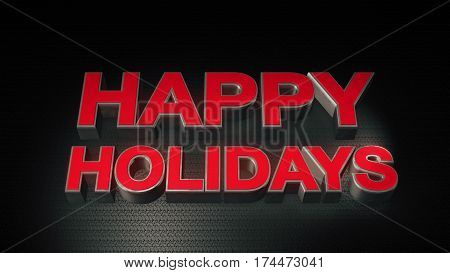 Metal 3D Text Happy Holidays With Reflection