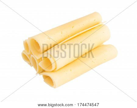 Sliced Gouda Cheese Isolated On White Background