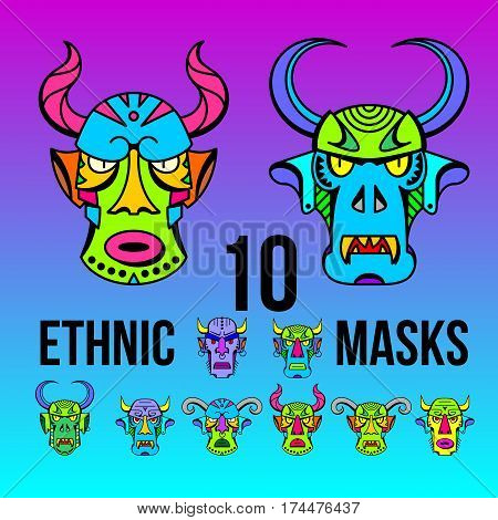 Set ethnic devil masks of different shapes for the logo, trademark, drawing on clothes, ornament tattoo, vector illustration