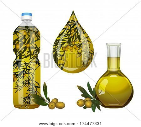 olive oil in a bottle and a drop on a white background