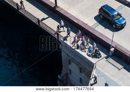 Chicago USA - May 30 2016: Aerial view of people walking on DuSable bridge in downtown