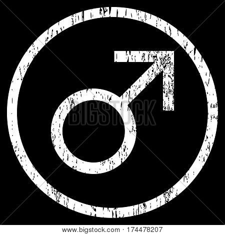 Mars Male Symbol grainy textured icon for overlay watermark stamps. Rounded flat vector symbol with dirty texture. Circled white ink rubber seal stamp with grunge design on a black background.