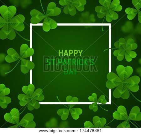 Saint Patrick's Day Banner with Green Four and Tree Leaf Clovers on Green Background. Vector illustration. Party Invitation Design, Typographic Template. Lucky and success symbols
