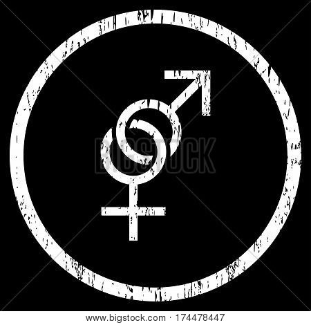 Sex Symbol grainy textured icon for overlay watermark stamps. Rounded flat vector symbol with dust texture. Circled white ink rubber seal stamp with grunge design on a black background.