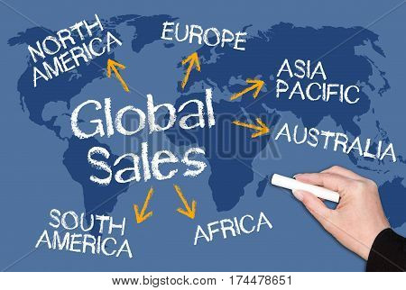 Global Sales - chalkboard with text on world map background
