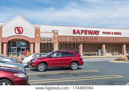 Burke USA - February 18 2017: Safeway food and drug store exterior