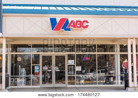 Fairfax USA - February 18 2017: ABC alcohol and spirits store exterior