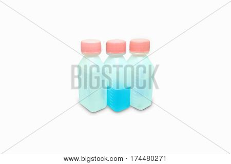 Bottle with liquid medicine. Transparent vial with lid on background