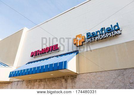 Fairfax USA - February 18 2017: Petsmart Petshotel sign and exterior with Banfield pet hospital