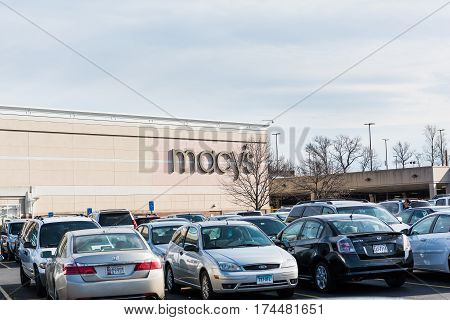Fairfax USA - February 18 2017: Macys sign outside mall with parking lot