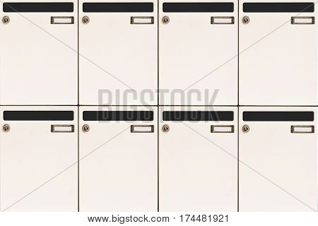 white mailboxes background with blank name tags