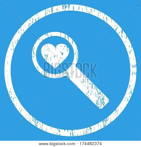 Find Love grainy textured icon for overlay watermark stamps. Rounded flat vector symbol with unclean texture. Circled white ink rubber seal stamp with grunge design on a blue background.
