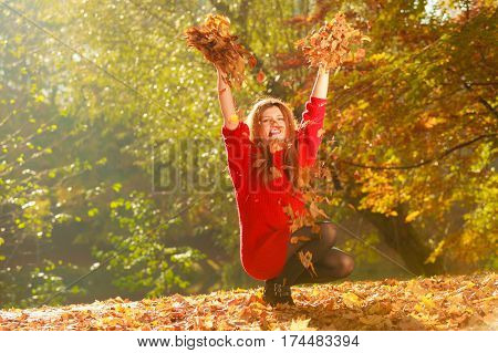 Crouching girl in autumnal forest. Young woman playing with leaves. Nature relax outdoor leisure concept.
