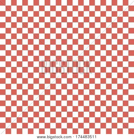 Red White Squares. Chess Background. Abstract Lattice. Vector Illustration.