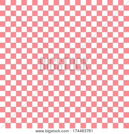 Pink White Squares. Chess Background. Abstract Lattice. Vector Illustration.