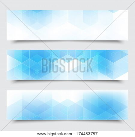 Vector abstract blue horizontal banners with geometric hexagonal background eps10