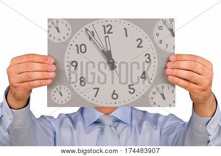 Urgency and Deadline - Manager with sign on white background