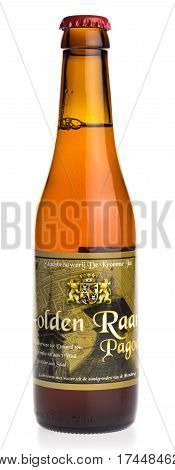 GRONINGEN, NETHERLANDS - FEBRUARY 24, 2017: Bottle of Golden Raand Pagode craft beer from Groningen in the Netherlands, isolated on a white background
