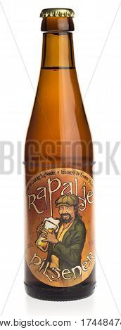 GRONINGEN, NETHERLANDS - FEBRUARY 24, 2017: Bottle of Rapalje Pilsener craft beer from Groningen in the Netherlands, isolated on a white background