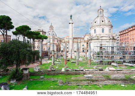 Forum - Roman ruins with column of Trajan, antique Rome, Italy